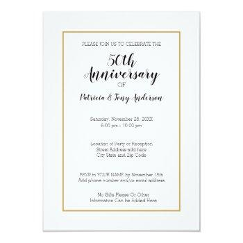 Small Any Year - 50th Wedding Anniversary & Photo Invitation Back View