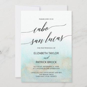 aqua and gold beach cabo san lucas wedding invitation