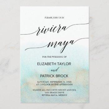aqua and gold beach riviera maya wedding invitation