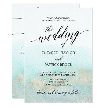 aqua and gold watercolor beach all in one wedding invitation