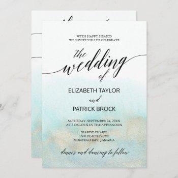 aqua and gold watercolor beach all in one wedding invitation