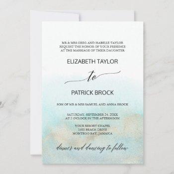 aqua and gold watercolor beach formal wedding invitation