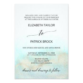 aqua and gold watercolor beach formal wedding invitation