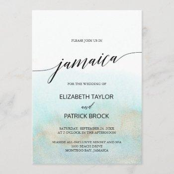 aqua and gold watercolor beach jamaica wedding invitation
