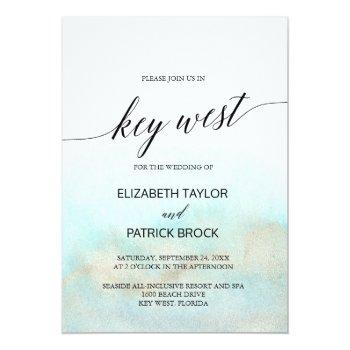 aqua and gold watercolor beach key west wedding invitation