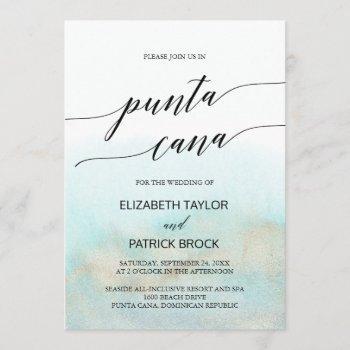 aqua and gold watercolor beach punta cana wedding invitation