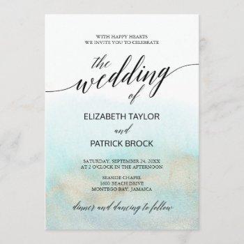 aqua and gold watercolor beach the wedding of invitation