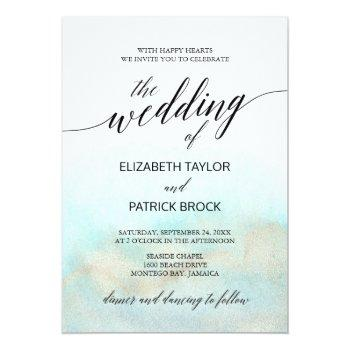 Small Aqua And Gold Watercolor Beach The Wedding Of Invitation Front View