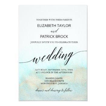 aqua and gold watercolor beach wedding invitation