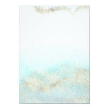 Small Aqua And Gold Watercolor On The Beach Wedding Invitation Back View