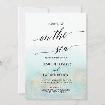 aqua and gold watercolor on the sea cruise wedding invitation