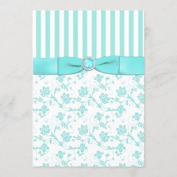 aqua blue and white striped floral wedding invite