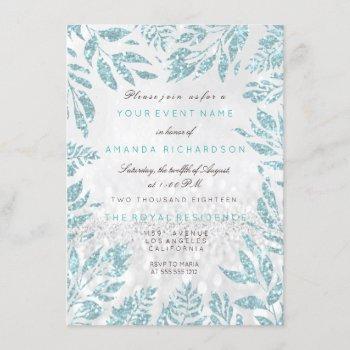 aqua blue gray glitter leafs florals silve invitation