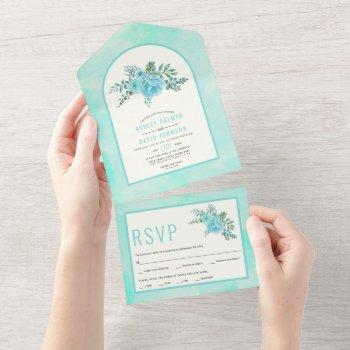 aqua blue watercolor flowers arch floral wedding   all in one invitation
