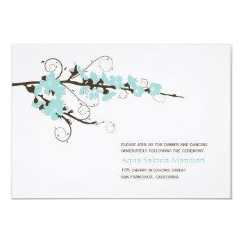 aqua cherry blossoms sakura swirls asian wedding invitation
