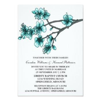 aqua simple cherry blossoms wedding invite