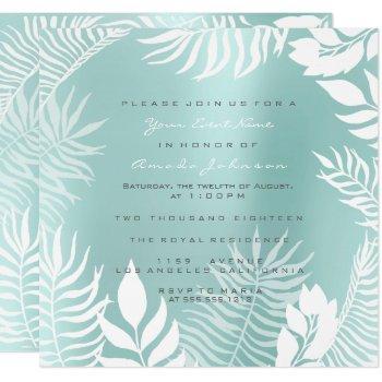 aqua tiffany metal glitter tropic white blue invitation