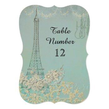 aqua vintage paris parisian reception table number