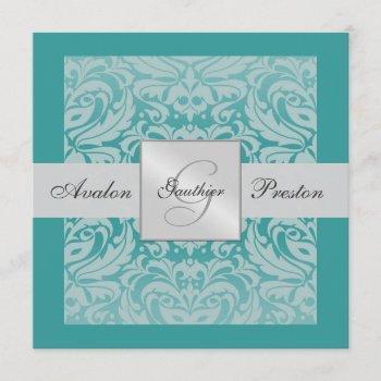 aquamarine monogram damask border invitation