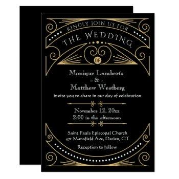 art deco black & gold great gatsby wedding invitation