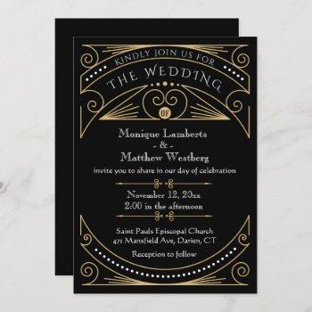 art deco black & gold wedding invitation