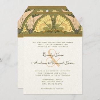 art deco butterfly calla lily wedding invitation