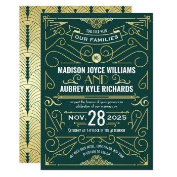 art deco gatsby wedding elegant gold dark green invitation