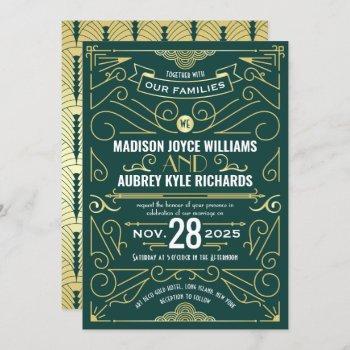 art deco gatsby wedding elegant gold dark green invitation