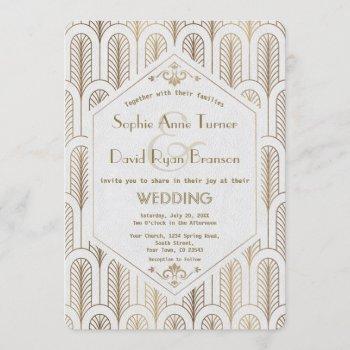 art deco great gatsby white gold wedding invitation
