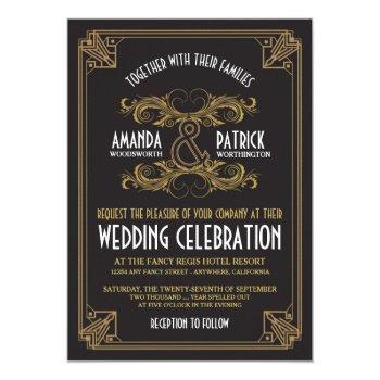 art deco vintage black & gold wedding invitations