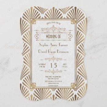 art deco white gatsby 1920s style wedding invitation