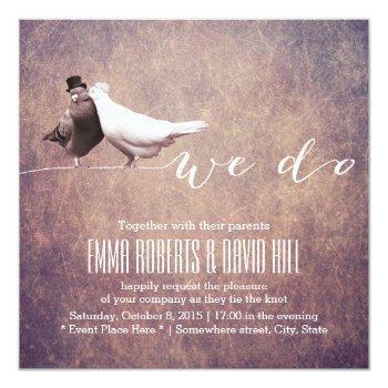 artistic grunge love birds wedding invitation