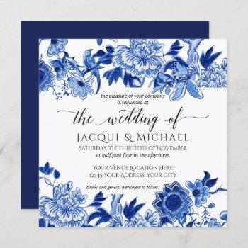 asian influence blue white floral wedding artwork invitation