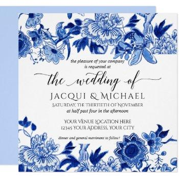 asian influence light blue floral wedding artwork invitation