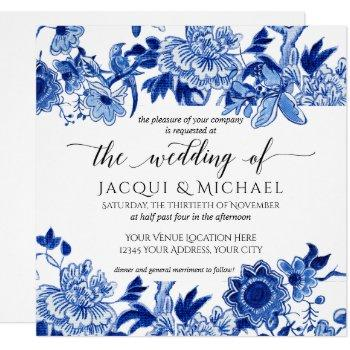 asian influence white blue floral wedding artwork invitation