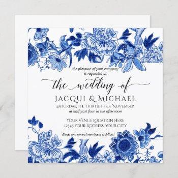 asian influence white blue floral wedding artwork invitation