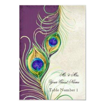 audrey jeanne peacock feather purple damask escort invitation