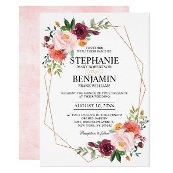 autumn burgundy blush floral geometric wedding invitation
