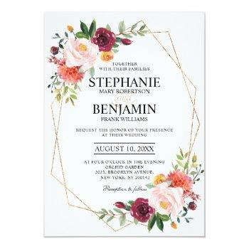 Small Autumn Burgundy Blush Floral Geometric Wedding Invitation Front View
