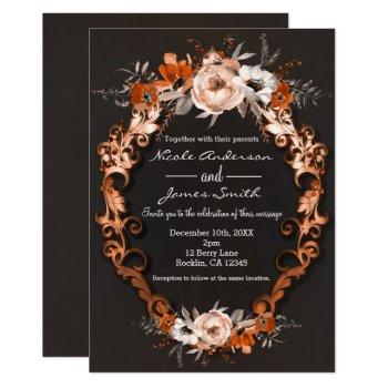 autumn fall wedding orange floral flowers elegant invitation