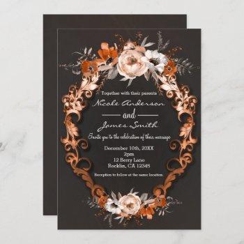 autumn fall wedding orange floral flowers elegant invitation