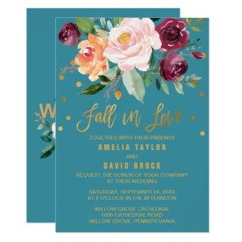 autumn floral | fall in love teal wedding invitation