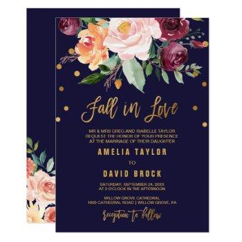 autumn floral formal fall in love | detail wedding invitation