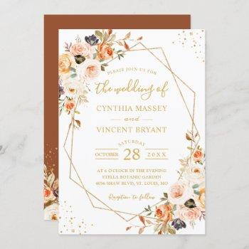 autumn floral terracotta gold geometric wedding invitation