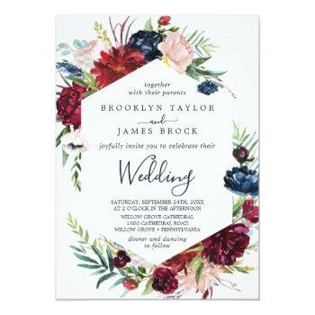 Small Autumn Garden   Burgundy All In One Wedding Invitation Front View
