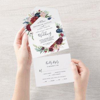 autumn garden | burgundy wedding all in one invitation