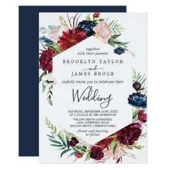 autumn garden | burgundy wedding invitation