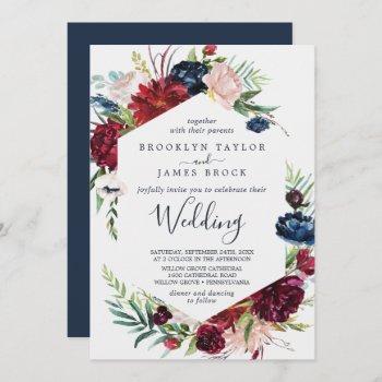 autumn garden | burgundy wedding invitation