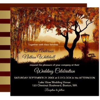 autumn lake view lantern wedding invitation