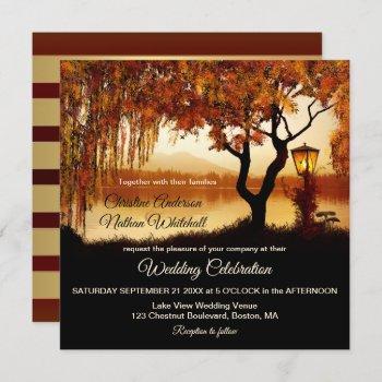 autumn lake view lantern wedding invitation